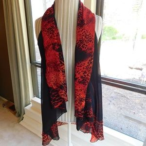 Tops - Red sheer cardigan, swim cover up, scarf wrap